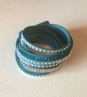 Wrap Around Bracelet - Turquoise - Crystal & Copper